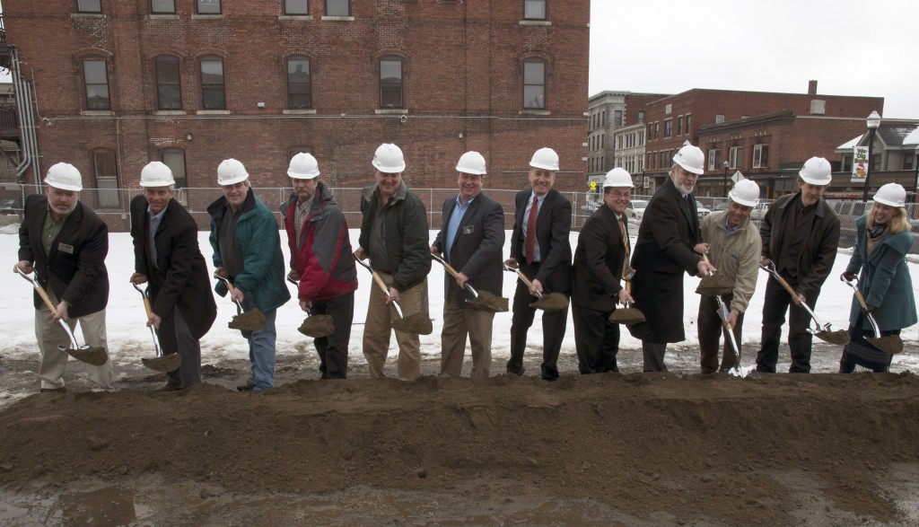 (Pictured left to right): Mike Francis, DEW; Jeff Davis, DEW; Mike Canavan, DEW; John Benson, Dubois & King Engineers; Allen Haggerty, DEW; Don Wells, DEW; Governor Peter Shumlin; Barre City Mayor Thom Lauzon, Steve MacKenzie, Barre City; Jules Chatot, Banwell Architects; Miccal McMullin, Banwell Architects; Ingrid Moulton Nichols, Banwell Architects